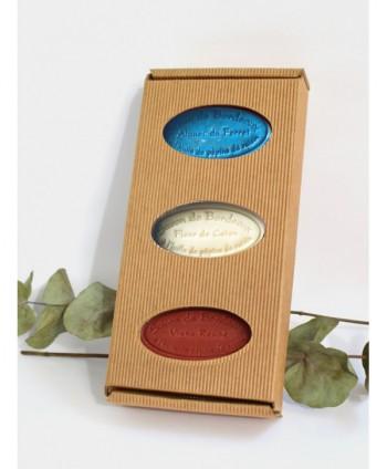 """Coffret 3 savons Tradition """"Bleu Blanc Rouge"""" - Boîte cannelé - 95 grammes*3"""
