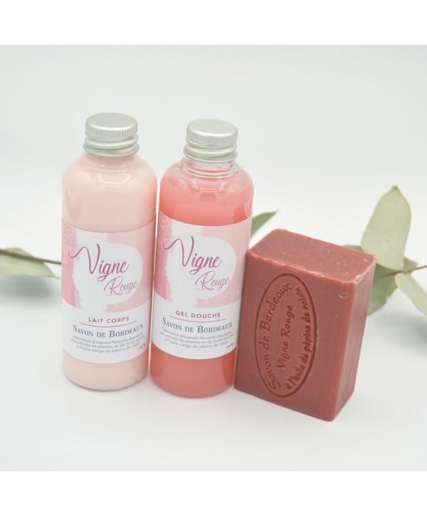 Gel douche et lait corps (2*100ml) et un savon 100 grammes - Vigne Rouge